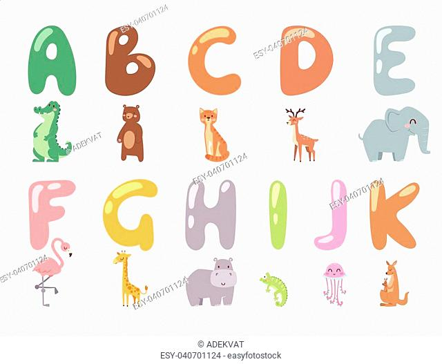 Cute zoo alphabet with cartoon animals isolated on white background and funny letters wildlife learn typography cute language vector illustration