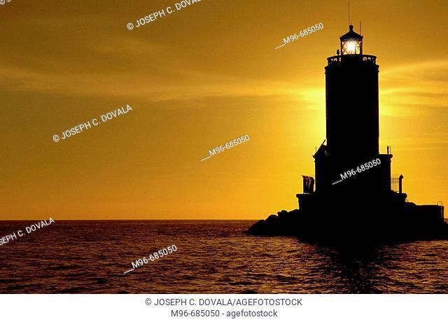 Lighthouse at breakwater San Pedro, CA. USA