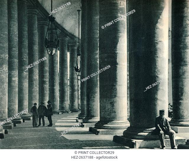 Part of the colonnade at St Peter's Square, Rome, Italy, 1927. Artist: Eugen Poppel