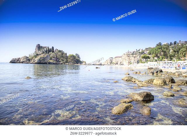 Sicily Italy view of the famous, Isola Bella, in Taormina