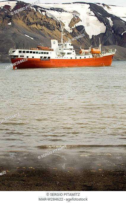Antarctica, South Shetlands Islands, Deception Island, Telephone Bay, Antarctic Dream ship