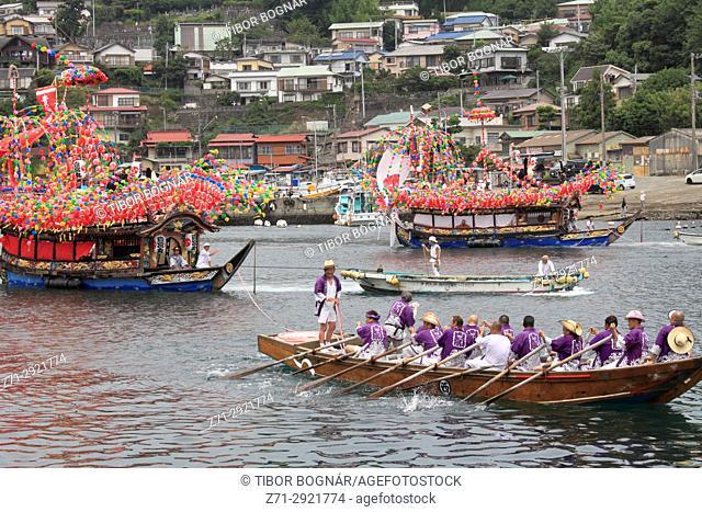 Japan, Manazuru, Kibune Matsuri, festival, boats, people,
