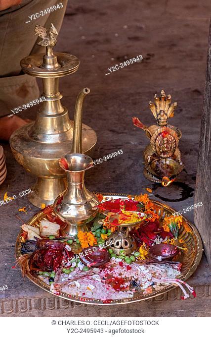 Bhaktapur, Nepal. Tray of Offerings at a Neighborhood Hindu Shrine