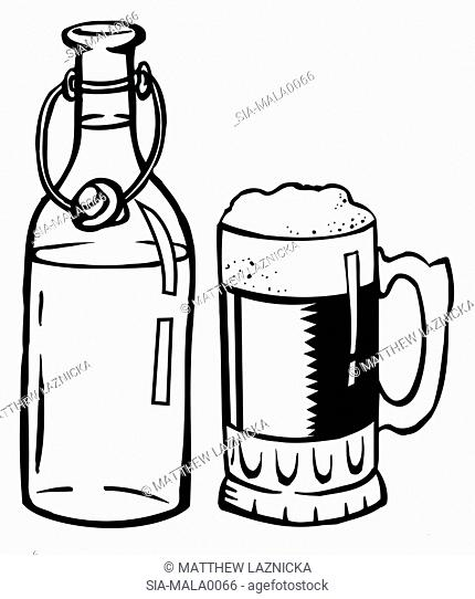 Old fashioned beer bottle and beer glass