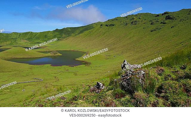 Caldeirao Crater and Lake on Corvo Island, Azores, Portugal