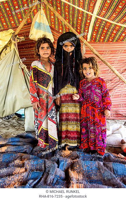 Rashaida children in their tent in the desert around Massawa, Eritrea, Africa