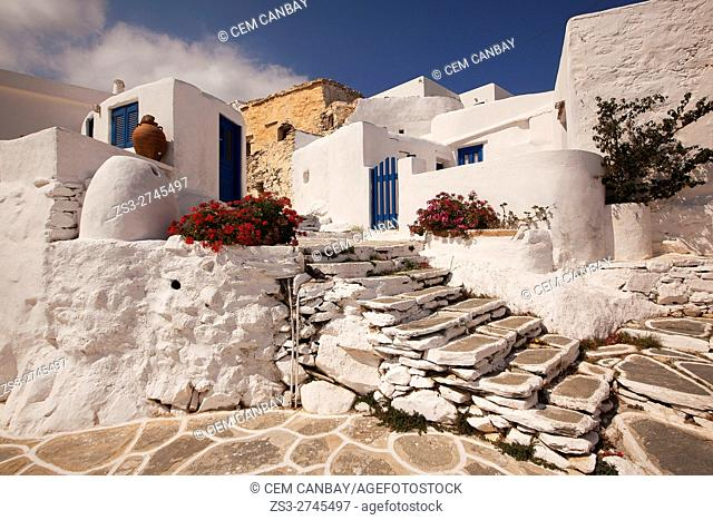 Whitewashed houses in the old town Chora-Chorio, Sikinos, Cyclades Islands, Greek Islands, Greece, Europe