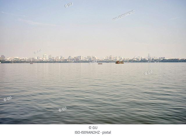 Distant view of city skyline on Westlake, Hangzhou, China