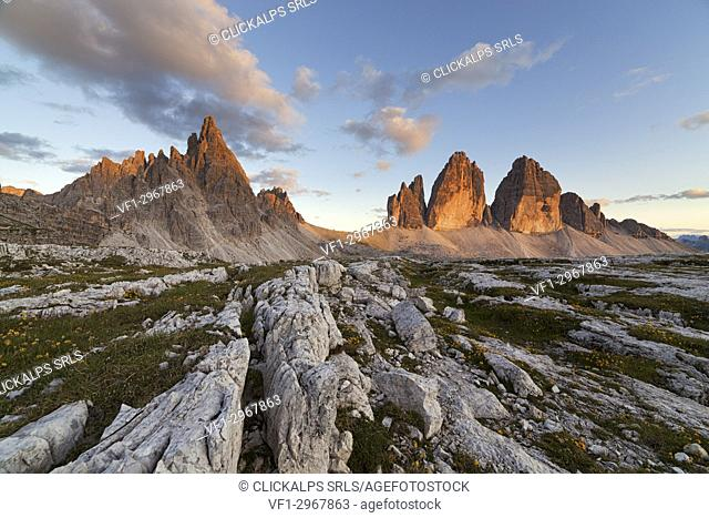 Sunset on Paternkofel and Drei Zinnen, Dolomites, Toblach, South Tyrol, Bozen, Italy