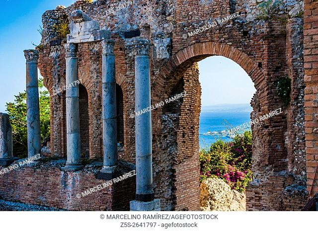 The Ancient theatre of Taormina is an ancient Greek theatre. Taormina, Messina, Sicily, Italy