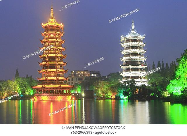 Sun and Moon Twin Pagodas, Guilin, Guangxi, China