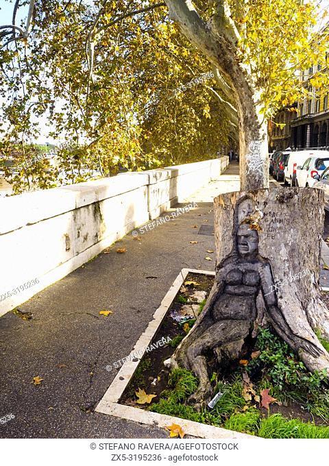 Sculpured tree in lungotevere della Farnesina - Rome, Italy