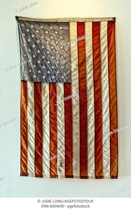 Vintage American (USA) Flag, Proundly Hung and Displayed on a Brooklyn, NY, USA, Cafe Wall