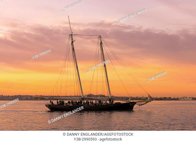 The schooner America at sunset in San Diego Bay, California