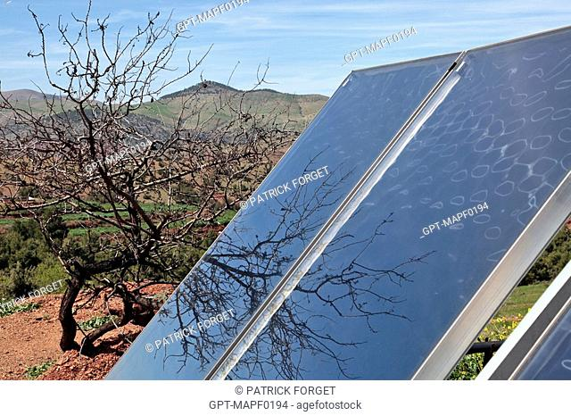 SOLAR PANELS FOR HEATING AND AIR-CONDITIONING, TERRES D'AMANAR NATURE PARK, TAHANAOUTE, AL HAOUZ, MOROCCO