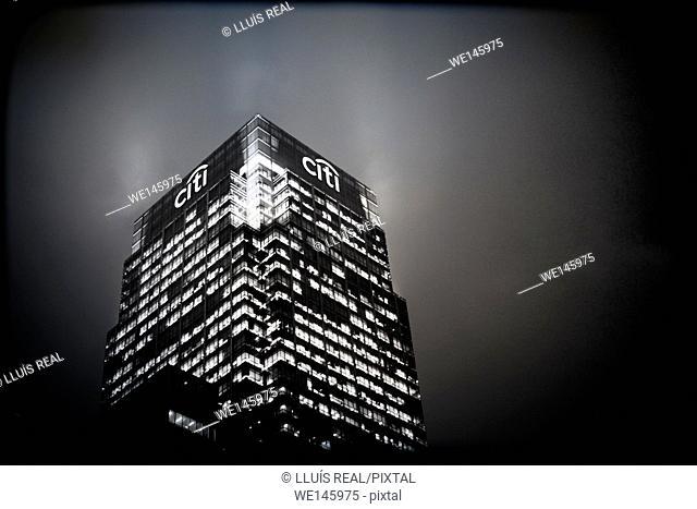 rascacielos, noche, iluminado, arquitectura, skyscraper, night