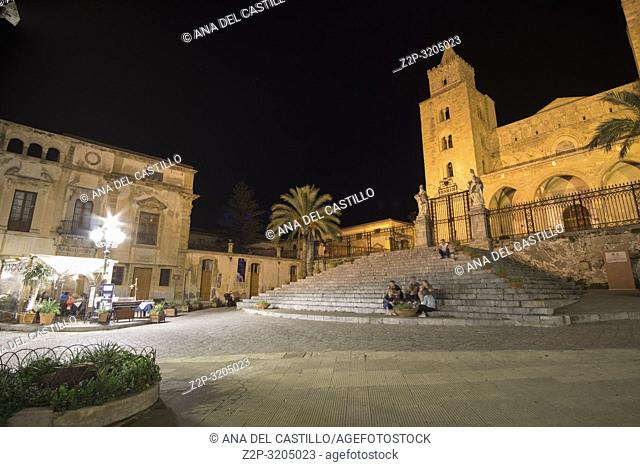 The cathedral basilica Cefalu townscape Sicily village on the sea Italy