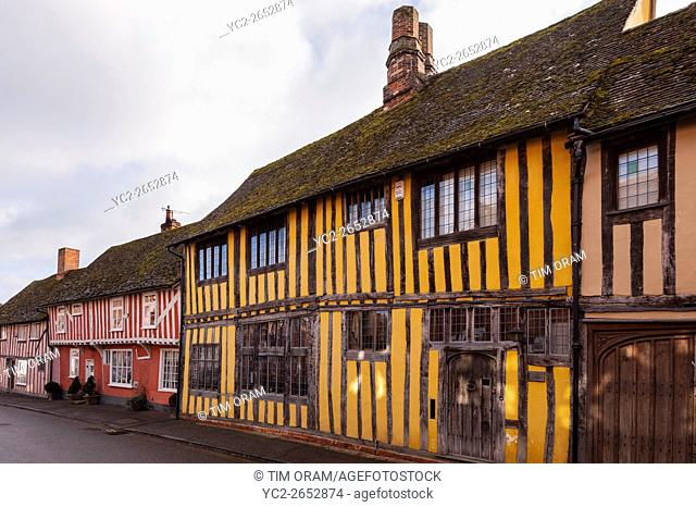 Pretty timber framed houses in the picturesque village of Lavenham , Suffolk , England , Britain , Uk