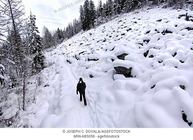 Hiker passing snow covered boulder field Bitterroot Fores, Montana. USA