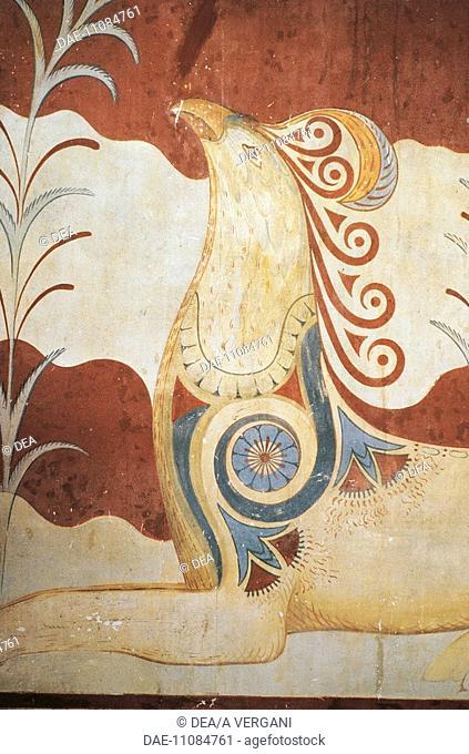 Greece - Crete - Knossos. Palace of Minos. Throne Hall. Frescoes