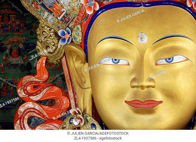 Maitreya Buddha at Thiksey monastery. India, Jammu and Kashmir, Ladakh, Thiksey