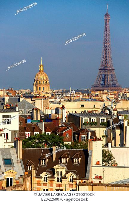 City view. Eiffel Tower and Les Invalides from the Latin Quartier. Paris. France
