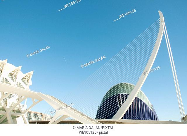 The Ágora, L'Assut d'Or bridge and the Príncipe Felipe Science Museum. City of Arts and Sciences, Valencia, Spain