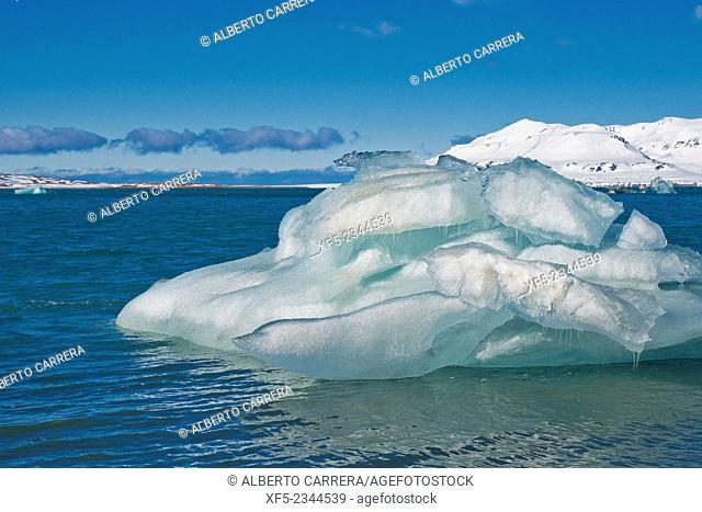 Glacier Ice, Drift floating Ice,14 of July Glacier, Krossfjord, Arctic, Spitsbergen, Svalbard, Norway, Europe