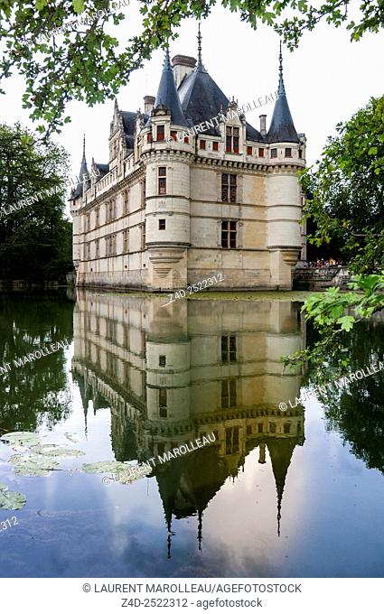 Chateau of Azay le Rideau, Built in the 16th century, on an island in the Indre River, is a magnificent example of French Renaissance Architecture