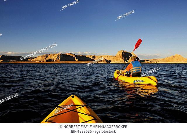 Kayakers, Lake Powell, Glen Canyon, Arizona, United States