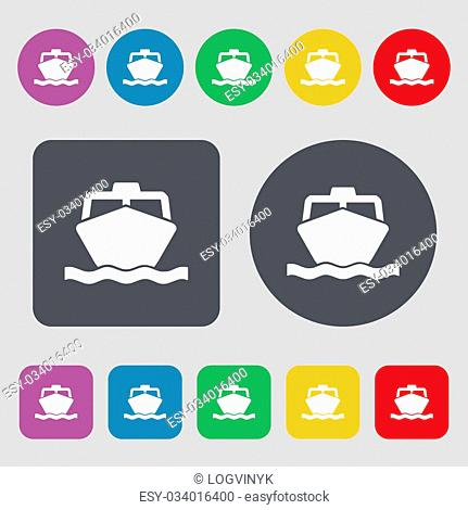 the boat icon sign. A set of 12 colored buttons. Flat design. illustration