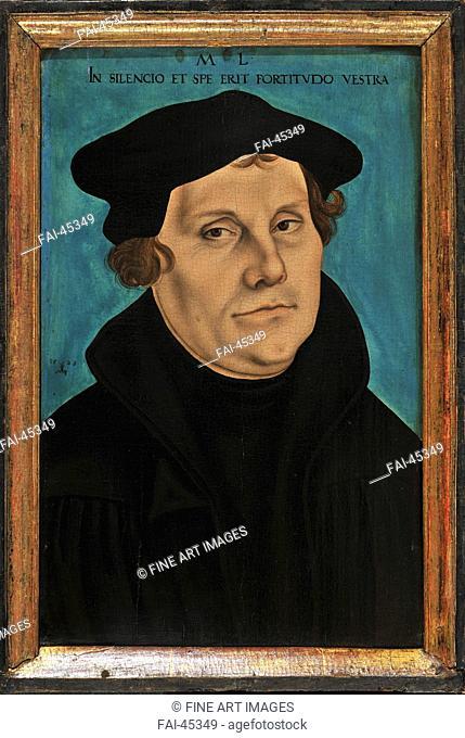 Martin Luther by Cranach, Lucas, the Elder (1472-1553)/Oil on wood/Renaissance/1529/Germany/Schloss Friedenstein Gotha/Portrait/Painting/Martin Luther von...