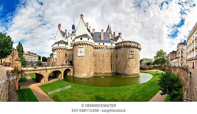 Beautiful panoramic cityscape view of The Château des ducs de Bretagne (Castle of the Dukes of Brittany) a large castle located in the city of Nantes, France
