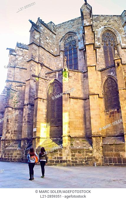 The Cathedral of the Holy Cross and Saint Eulalia, also known as Barcelona Cathedral. Gothic cathedral and seat of the Archbishop of Barcelona