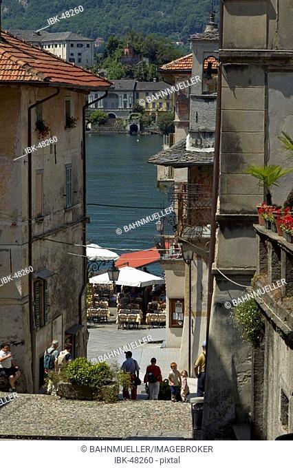 Orta San Giulio at the Lake Orta Lago di Orta Piedmont Piemonte Italy little street in the center