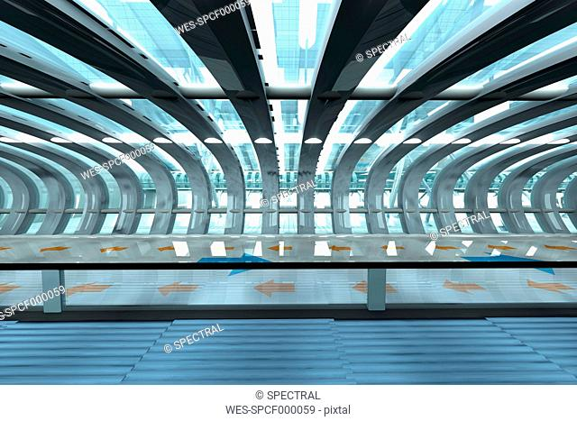 Futuristic subway or train station, 3D Rendering