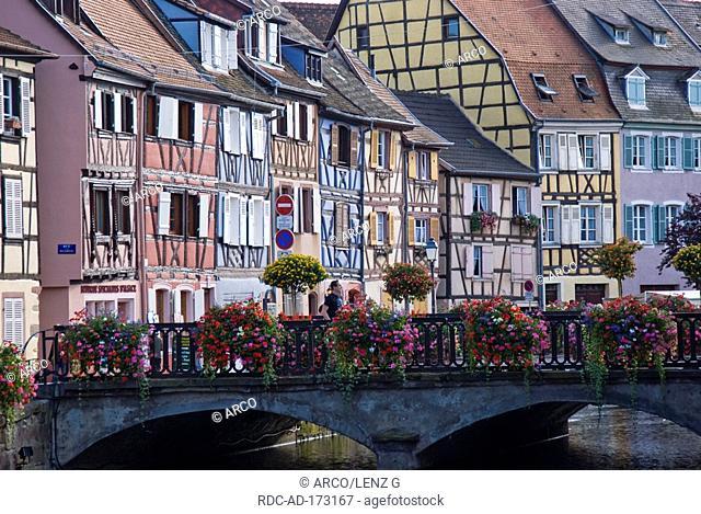 Half-timbered houses, little Venice, Colmar, Alsace, France, Petite Venise