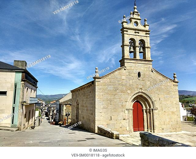 San Salvador church in Rua Mayor, Sarria, Lugo province, Spain