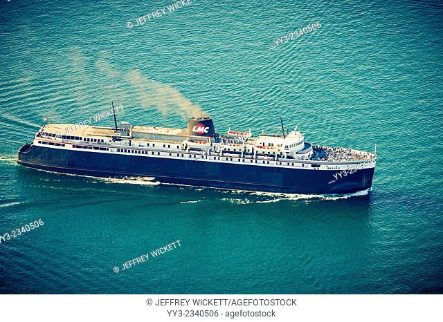 Lake Michigan Carferr - the Badger is the last remaining car ferry operating on Lake Michigan between Ludington, Michigan and Manitowac, Wisconsin, USA