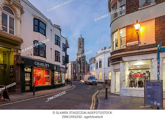 Evening in the Lanes, Brighton, East Sussex, England, UK