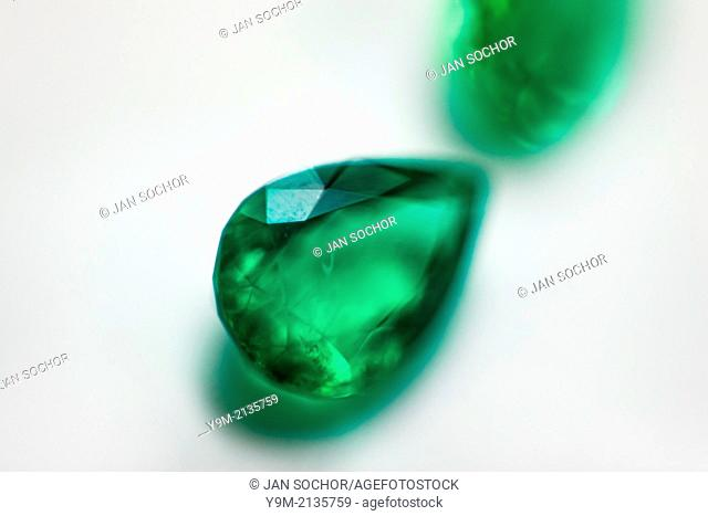 A fine teardrop-shaped emerald, having a value of $5,000-10,000, is seen in the jewelry workshop in Bogota, Colombia, 8 February 2014