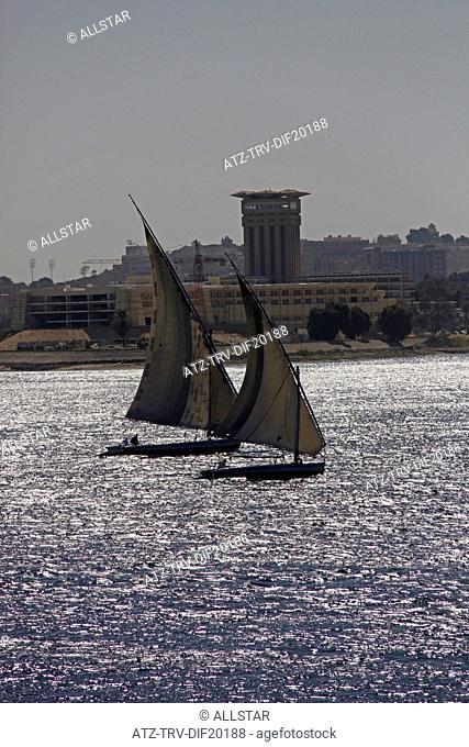 FELUCCAS IN FULL SAIL; RIVER NILE, ASWAN, EGYPT; 10/01/2013