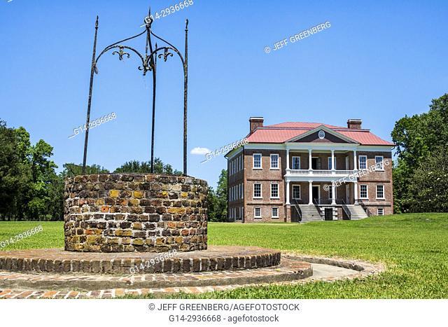 South Carolina, SC, Charleston, Drayton Hall, historic plantation, preservation, Palladian architecture, brick water well