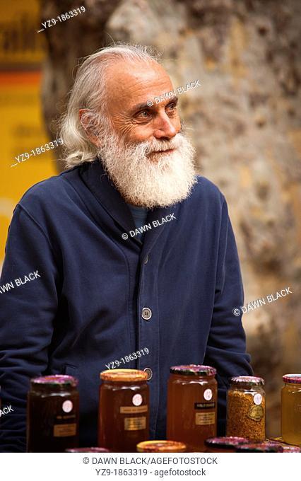 Honey seller, Aix-en-Provence Market, Provence, France