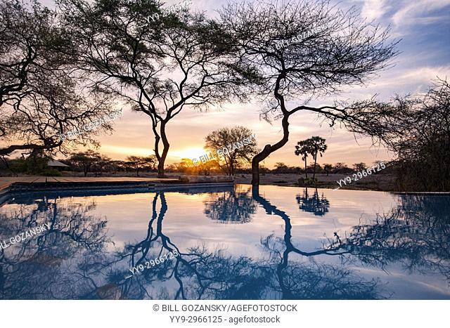 Sunset Reflections at Onguma Tented Camp, Onguma Game Reserve, Namibia, Africa