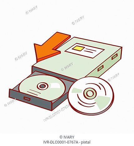 Arrow sign on CD-ROM drive