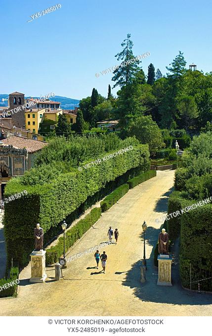 Boboli Gardens, Florence, Italy. View from Palazzio Piti