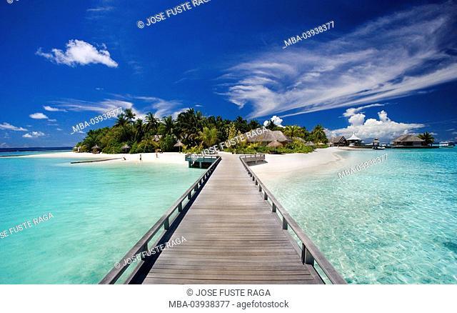 Maldives, North male atoll,sea bridge, palm-island, vacation-installation, bungalows, island state, Island, Maldives-island, bathing jetty, wood-bridge
