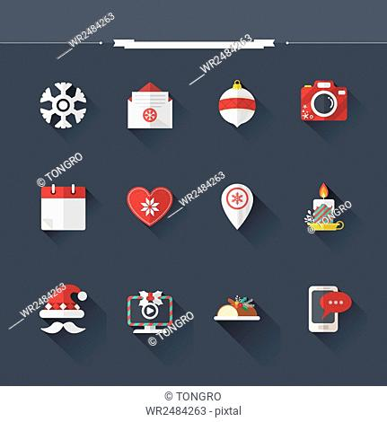 Set of various icons related to winter and Christmas