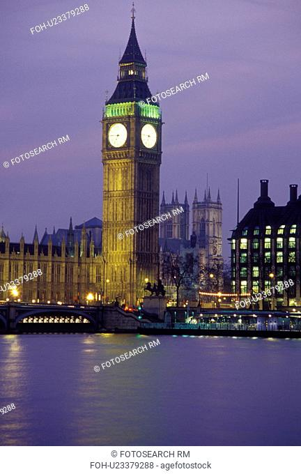 London, England, Great Britain, United Kingdom, Europe, Big Ben in Westminster along the River Thames in the evening